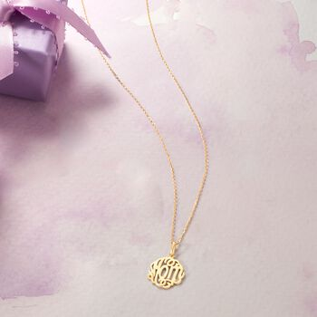 """18kt Yellow Gold """"Mom"""" Script Pendant Necklace. 18"""""""