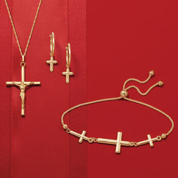 14kt Yellow Gold Three-Station Cross Bolo Bracelet, , default