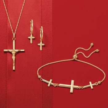 14kt Yellow Gold Beaded Cross Hoop Drop Earrings, , default