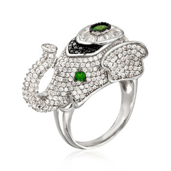 4.27 ct. t.w. Multi-Stone Elephant Ring in Sterling Silver