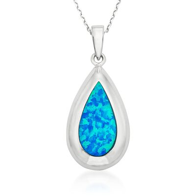 Blue Synthetic Opal Teardrop Pendant Necklace in Sterling Silver, , default