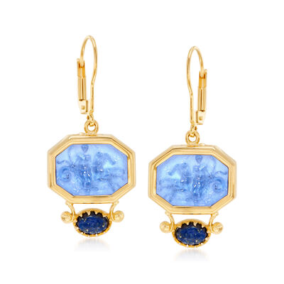 Italian Tagliamonte Blue Venetian Glass Cameo and Lapis Drop Earrings in 18kt Gold Over Sterling