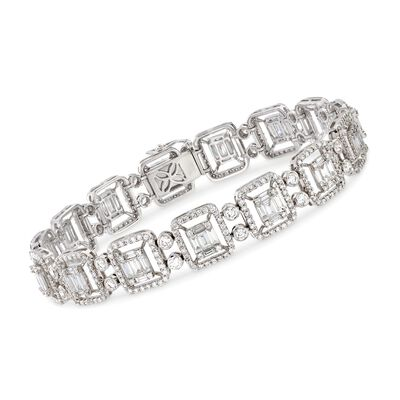 6.25 ct. t.w. Diamond Mosaic Bracelet in 18kt White Gold