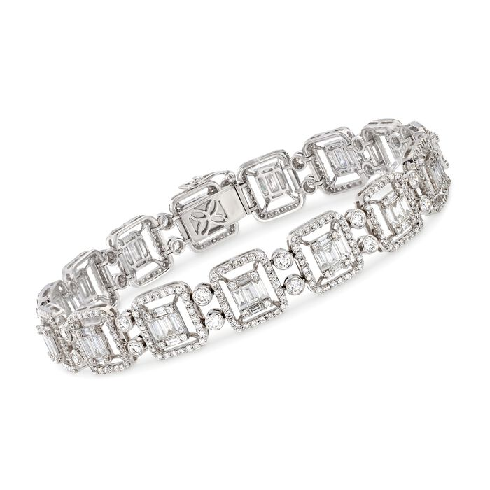 6.25 ct. t.w. Diamond Mosaic Bracelet in 18kt White Gold. 7""