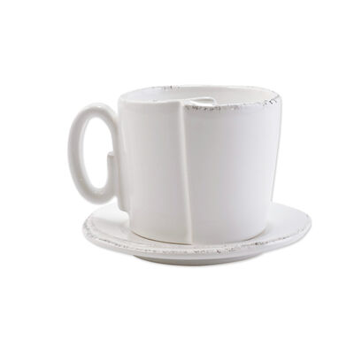 "Vietri ""Lastra"" White Teacup and Saucer from Italy"