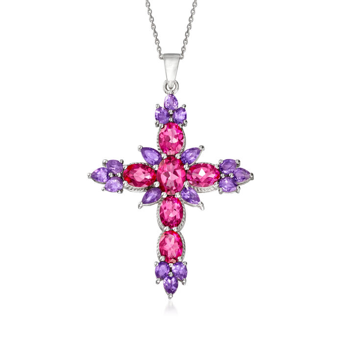 4.90 ct. t.w. Pink Topaz and 2.10 ct. t.w. Amethyst Cross Pendant Necklace in Sterling Silver