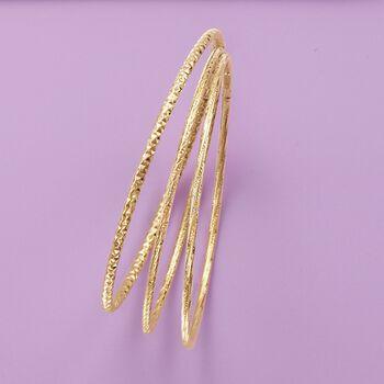 Italian 14kt Yellow Gold Faceted Bangle Bracelet, , default