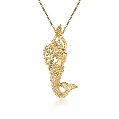 14kt Yellow Gold Mermaid Pendant Necklace, , default