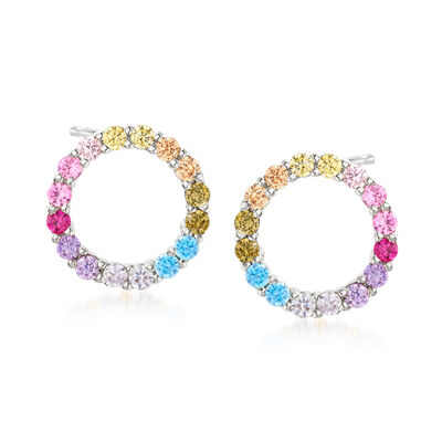.85 ct. t.w. Multicolored CZ Open-Space Circle Stud Earrings in Sterling Silver, , default
