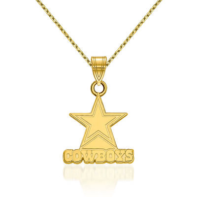 14kt Yellow Gold Small NFL Dallas Cowboys Pendant Necklace. 18""