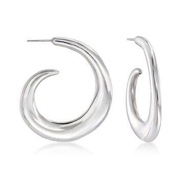 "Italian Sterling Silver Curled J-Hoop Earrings. 1 3/4"", , default"