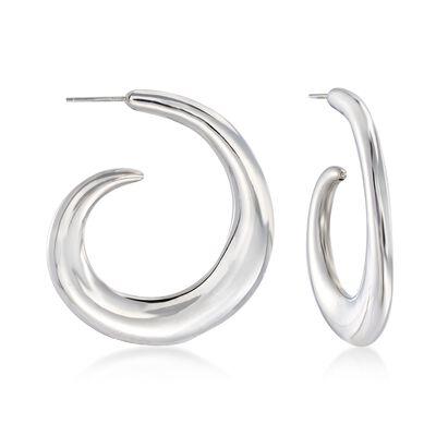 Italian Sterling Silver Curled J-Hoop Earrings, , default