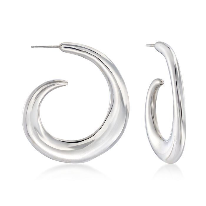 """Italian Sterling Silver Curled J-Hoop Earrings. 1 3/4"""", , default"""
