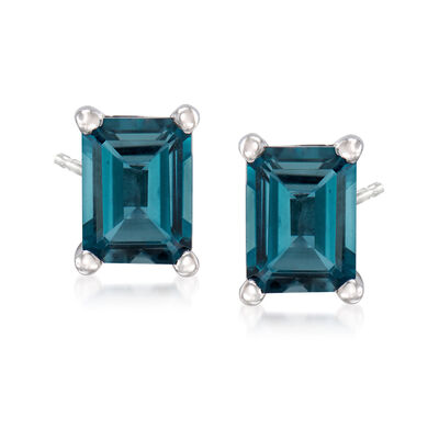 3.00 ct. t.w. London Blue Topaz Stud Earrings in Sterling Silver