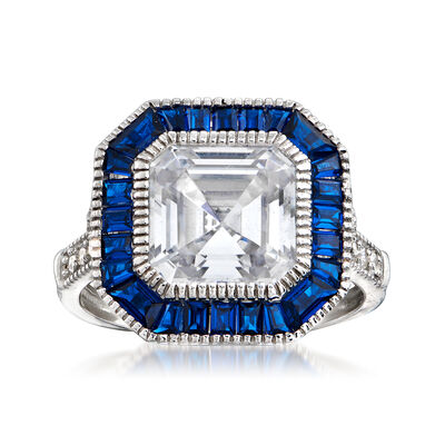 1.35 ct. t.w. CZ and .20 ct. t.w. Simulated Sapphire Ring in Sterling Silver, , default