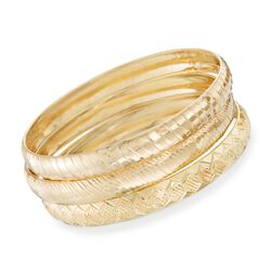 "Set of Three 14kt Gold Over Sterling Silver Diamond-Cut Bangle Bracelets. 7.5"", , default"