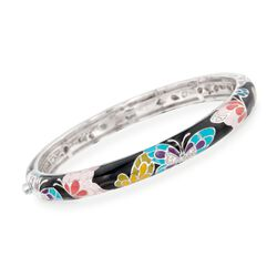 "Belle Etoile ""Butterfly Kisses"" Enamel Slim Bangle Bracelet With CZ Accents in Sterling Silver. 7"", , default"