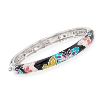 "Belle Etoile ""Butterfly Kisses"" Enamel Slim Bangle Bracelet With CZ Accents in Sterling Silver. 7"", , default"