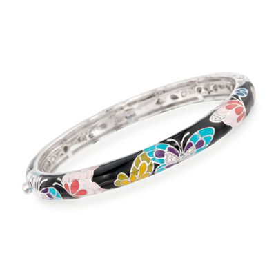 "Belle Etoile ""Butterfly Kisses"" Enamel Slim Bangle Bracelet with CZ Accents in Sterling Silver, , default"