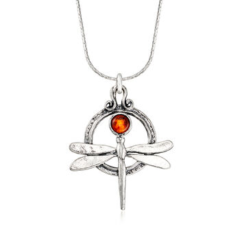 5mm Amber Dragonfly Necklace in Sterling Silver, , default