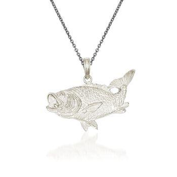 """14kt White Gold Bass Fish Pendant Necklace. 18"""", , default"""