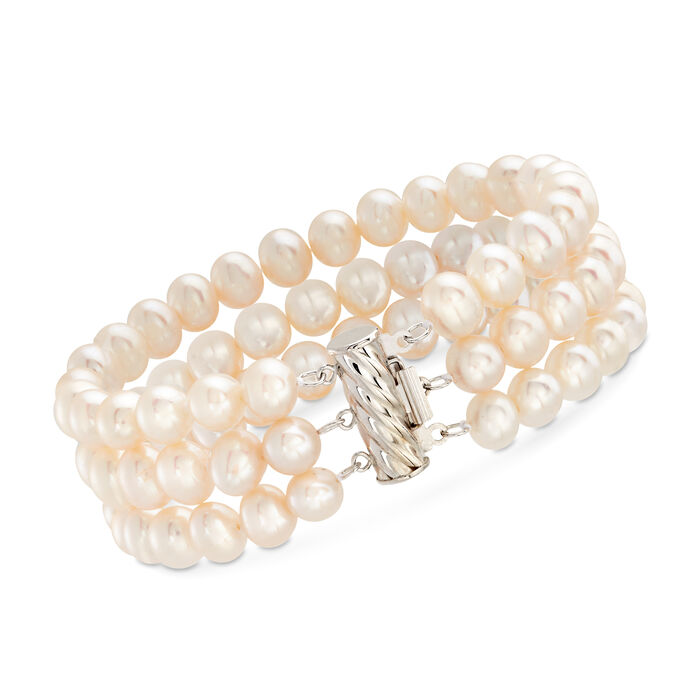 "6-6.5mm Cultured Pearl Three-Strand Bracelet with Sterling Silver. 7"", , default"
