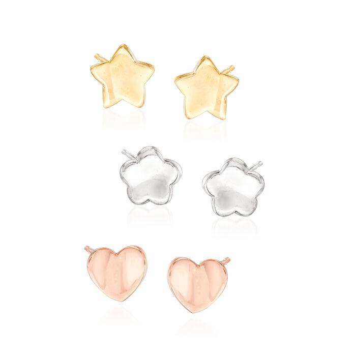 Italian Tri-Tone Silver Jewelry Set: Three Pairs of Stud Earrings, , default
