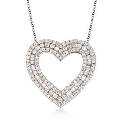 1.00 ct. t.w. Diamond Open-Space Heart Pendant Necklace in Sterling Silver, , default