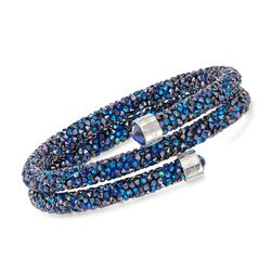 "Swarovski Crystal ""Dust"" Blue Crystal Coil Bracelet in Stainless Steel, , default"