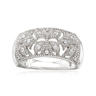 .20 ct. t.w. Diamond Openwork Ring in Sterling Silver