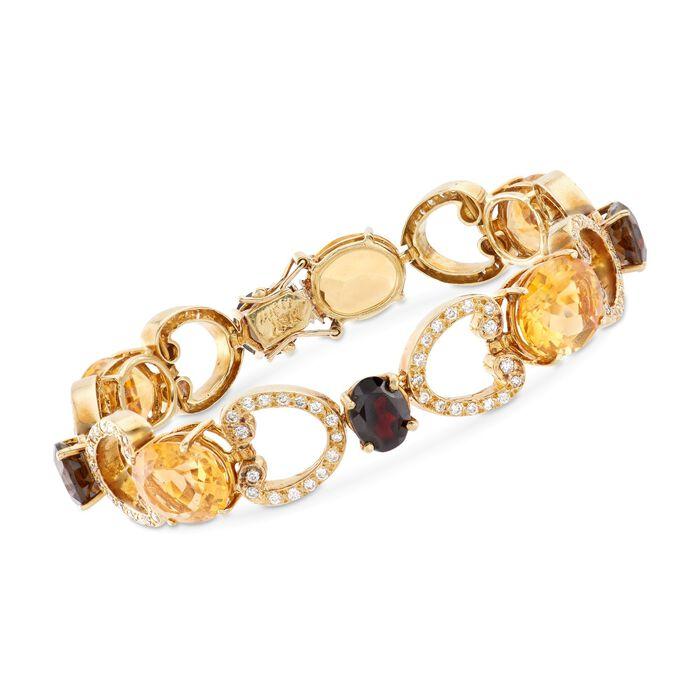 "C. 1980 Vintage 24.50 ct. t.w. Citrine and 6.00 ct. t.w. Smoky Quartz Bracelet with Diamonds and Garnet Accent in 18kt Gold. 7.25"", , default"