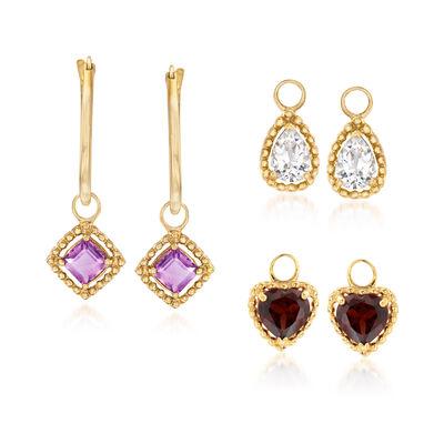 4.80 ct. t.w. Multi-Gemstone Interchangeable Charm Hoop Earrings in 18kt Gold Over Sterling, , default