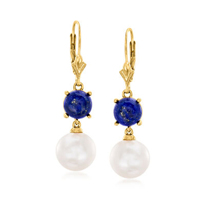 11-11.5m, Cultured Pearl and Lapis Drop Earrings in 18kt Gold Over Sterling