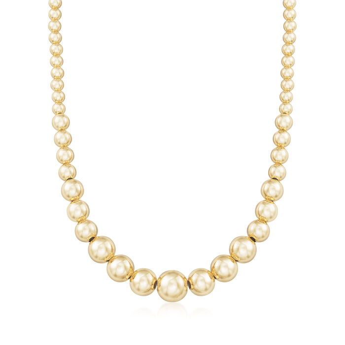 Italian 6-14mm 18kt Gold Over Sterling Silver Graduated Bead Necklace, , default
