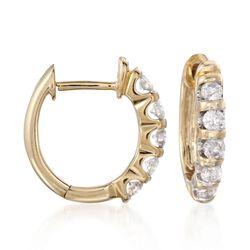 ".50 ct. t.w. Diamond Huggie Hoop Earrings in 14kt Yellow Gold. 1/2"", , default"