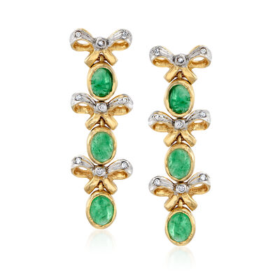 C. 1980 Vintage 2.10 ct. t.w. Emerald Bow Drop Earrings with Diamond Accents in 14kt Yellow Gold, , default