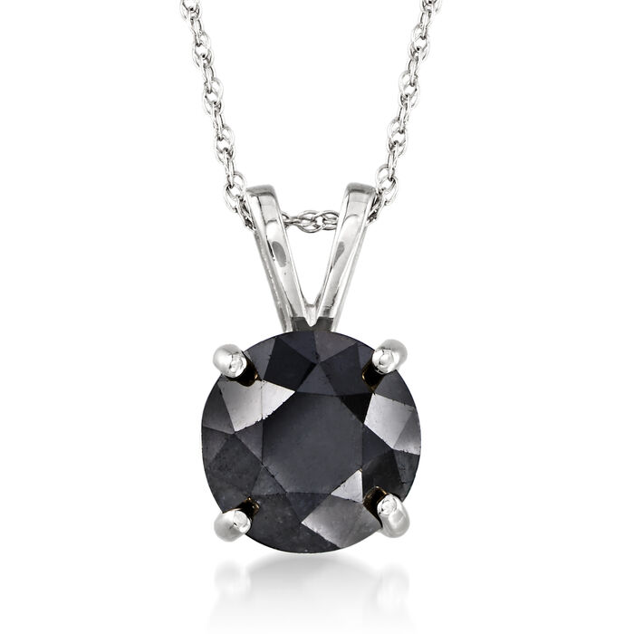 "2.00 Carat Black Diamond Solitaire Necklace in 14kt White Gold. 18"", , default"
