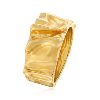 Italian 18kt Gold Over Sterling Crinkle-Style Ring, , default
