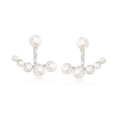 3.5-7mm Cultured Pearl Jewelry Set: Earrings and Front-Back Jackets in Sterling Silver, , default