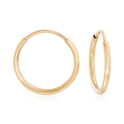 1mm 14kt Yellow Gold Endless Hoop Earrings