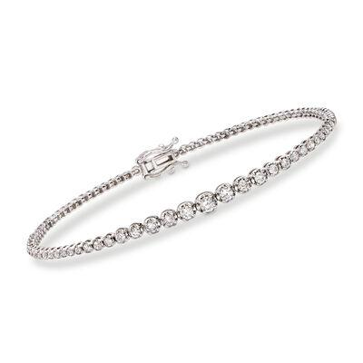 1.50 ct. t.w. Diamond Graduated Bracelet in 14kt White Gold