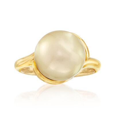 Mikimoto 11mm Golden South Sea Pearl Ring in 18kt Yellow Gold, , default