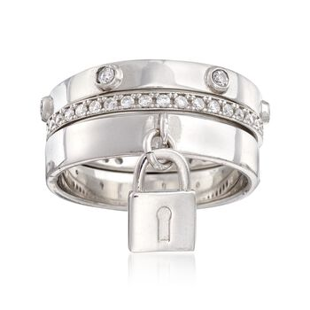 Italian .66 ct. t.w. CZ Ring With Padlock Charm in Sterling Silver, , default