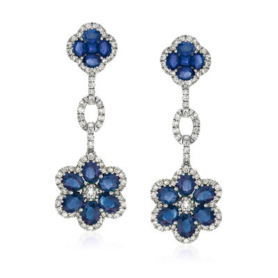 5.10 ct. t.w. Sapphire and 1.72 ct. t.w. Diamond Floral Drop Earrings in 18kt White Gold