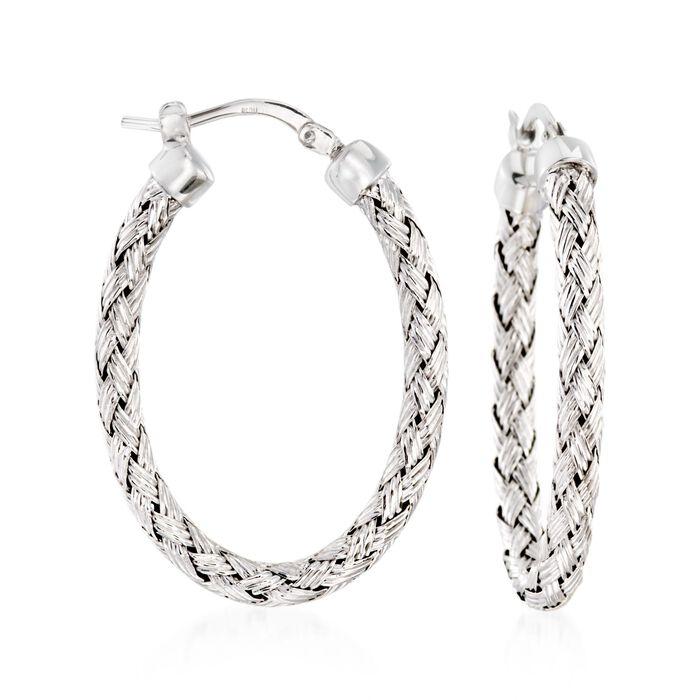 """Charles Garnier """"Milan"""" Sterling Silver Oval Hoop Earrings. 1 1/4"""", , default"""