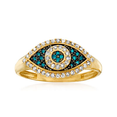 .30 ct. t.w. Blue and White Diamond Evil Eye Ring in 14kt Yellow Gold