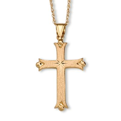 14kt Yellow Gold Budded Cross Pendant Necklace, , default