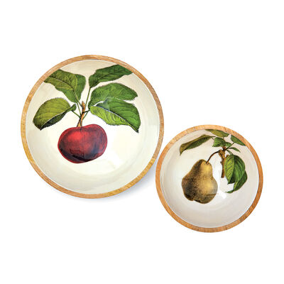 """Set of 2 """"Farm to Table"""" Apple and Pear Wood Salad Bowls, , default"""