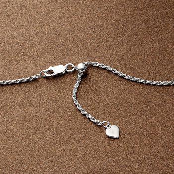 "Italian 1.5mm Sterling Silver Adjustable Slider Rope Chain Necklace. 24"", , default"