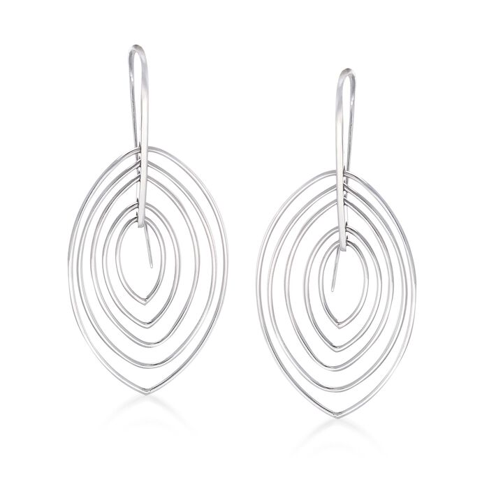 Sterling Silver Concentric Open Drop Earrings, , default